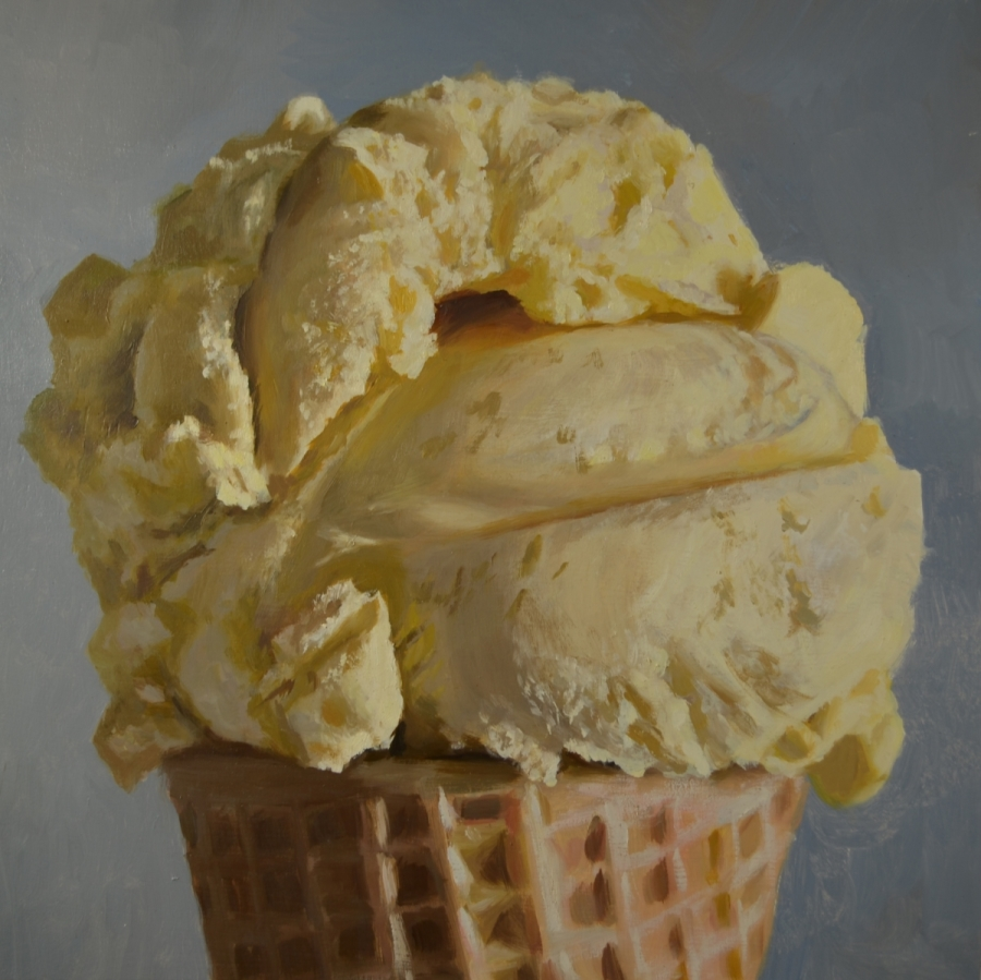 "Vanilla Cone, oil on wood panel, 14"" x 14"", 2017."